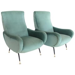 Italian Midcentury Armchairs in Mint Green Soft Velvet and Brass, 1950s