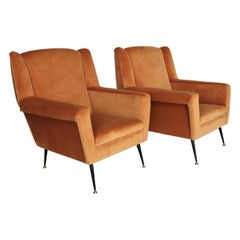 Italian Midcentury Armchairs in Pale Orange Velvet and Brass Feet, 1950s