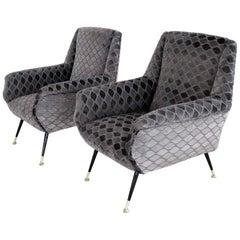 Italian Midcentury Armchairs in Rhomb Design Velvet and Brass Tipps, 1950s