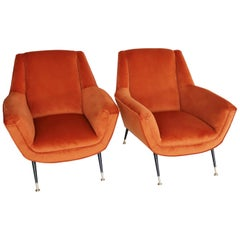 Italian Midcentury Armchairs in Russet Velvet and Stiletto Brass Feet, 1950s