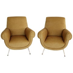 Italian Midcentury Armchairs in Velvet and Brass Feet by Gigi Radice, 1950s