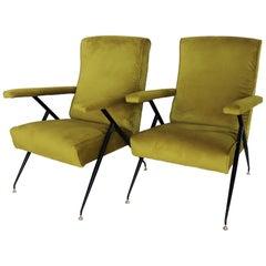 Italian Midcentury Armchairs in Velvet and Stiletto Brass Feet, 1950s