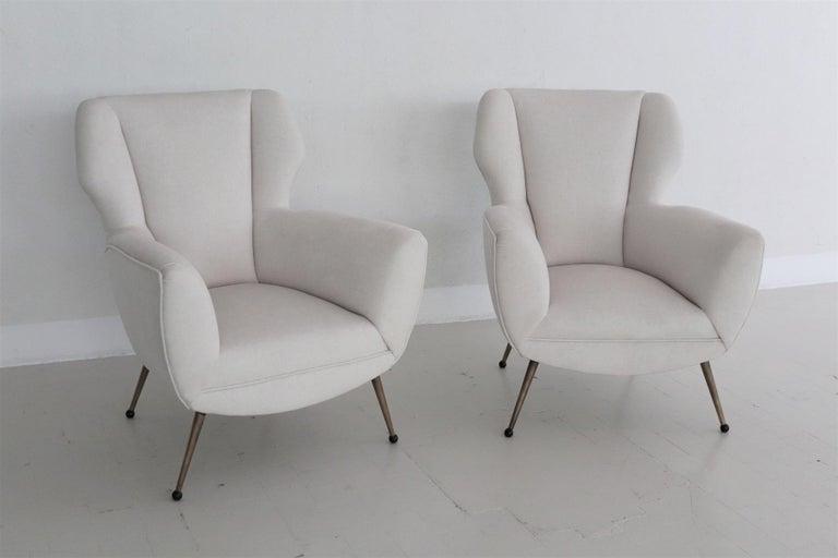 Metal Italian Midcentury Armchairs in White Velvet in Gigi Radice Style, 1950s For Sale