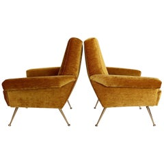 Italian Midcentury Armchairs in Yellow Chenille Cotton Fabric and Brass, 1950s