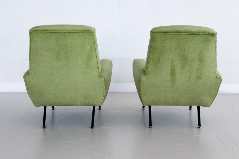 Italian Midcentury Armchairs Re-Upholstered in Green Velvet, 1960s For Sale 4