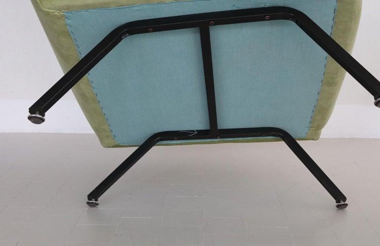 Italian Midcentury Armchairs Re-Upholstered in Green Velvet, 1960s For Sale 7