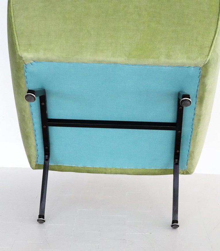 Italian Midcentury Armchairs Re-Upholstered in Green Velvet, 1960s For Sale 9
