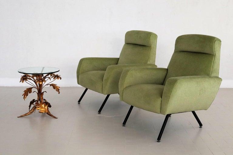 Mid-Century Modern Italian Midcentury Armchairs Re-Upholstered in Green Velvet, 1960s For Sale