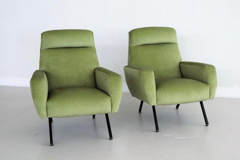 Painted Italian Midcentury Armchairs Re-Upholstered in Green Velvet, 1960s For Sale