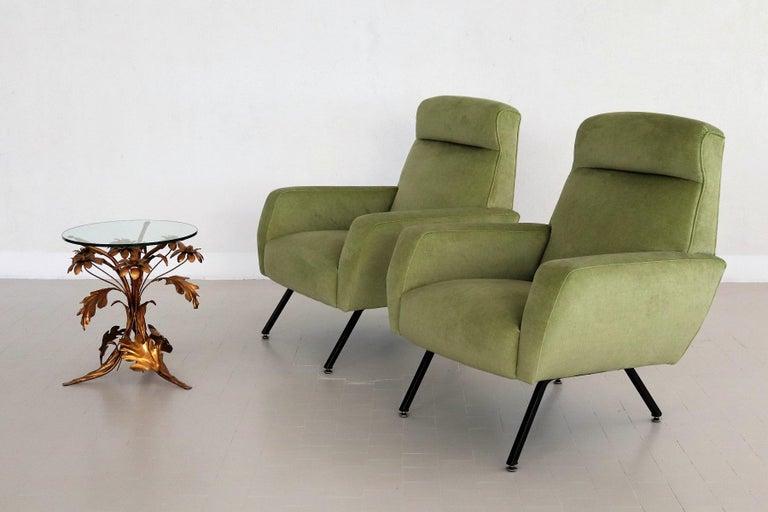 Italian Midcentury Armchairs Re-Upholstered in Green Velvet, 1960s For Sale 2