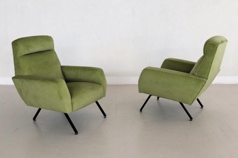Italian Midcentury Armchairs Re-Upholstered in Green Velvet, 1960s For Sale 3