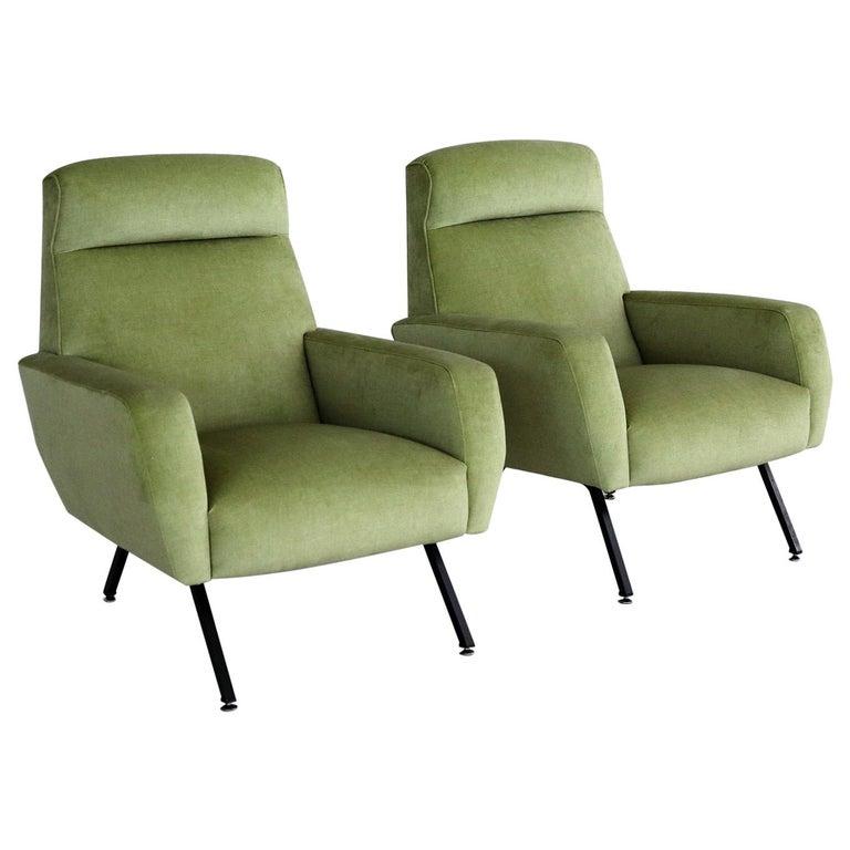 Italian Midcentury Armchairs Re-Upholstered in Green Velvet, 1960s For Sale