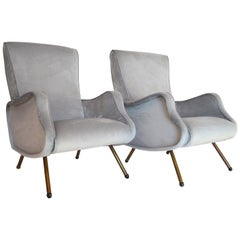 Italian Midcentury Armchairs Restored and Reupholstered in Grey Velvet, 1950s