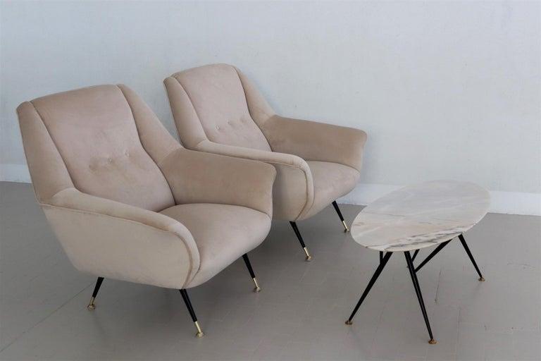 Italian Midcentury Armchairs Restored in Beige Soft Velvet and Brass, 1950s For Sale 11