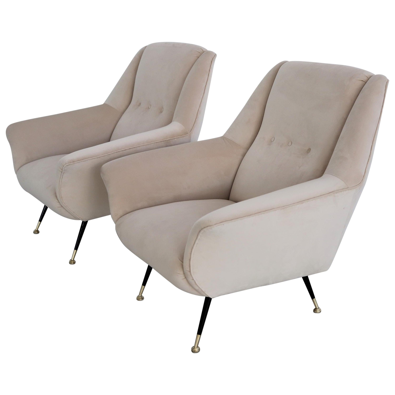 Italian Midcentury Armchairs Restored in Beige Soft Velvet and Brass feet, 1950s