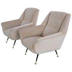 Italian Midcentury Armchairs Restored in Beige Soft Velvet and Brass, 1950s