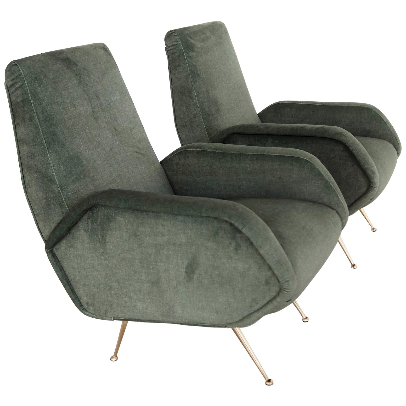 Italian Midcentury Armchairs Restored in Green Velvet with Brass Feet, 1950s