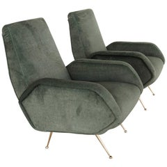 Italian Midcentury Armchairs Restored in Forest Green Velvet, 1950s