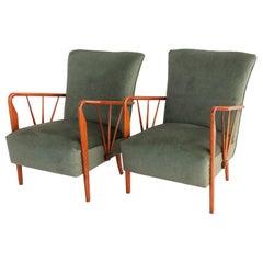 Italian Midcentury Armchairs Restored with Green Velvet, 1950s