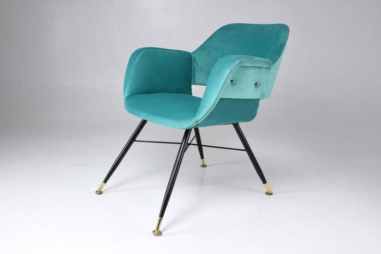 Pair of Italian Midcentury Velvet Steel Armchairs, 1950s In Good Condition For Sale In Paris, FR