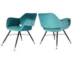 Pair of Italian Midcentury Velvet Steel Armchairs, 1950s