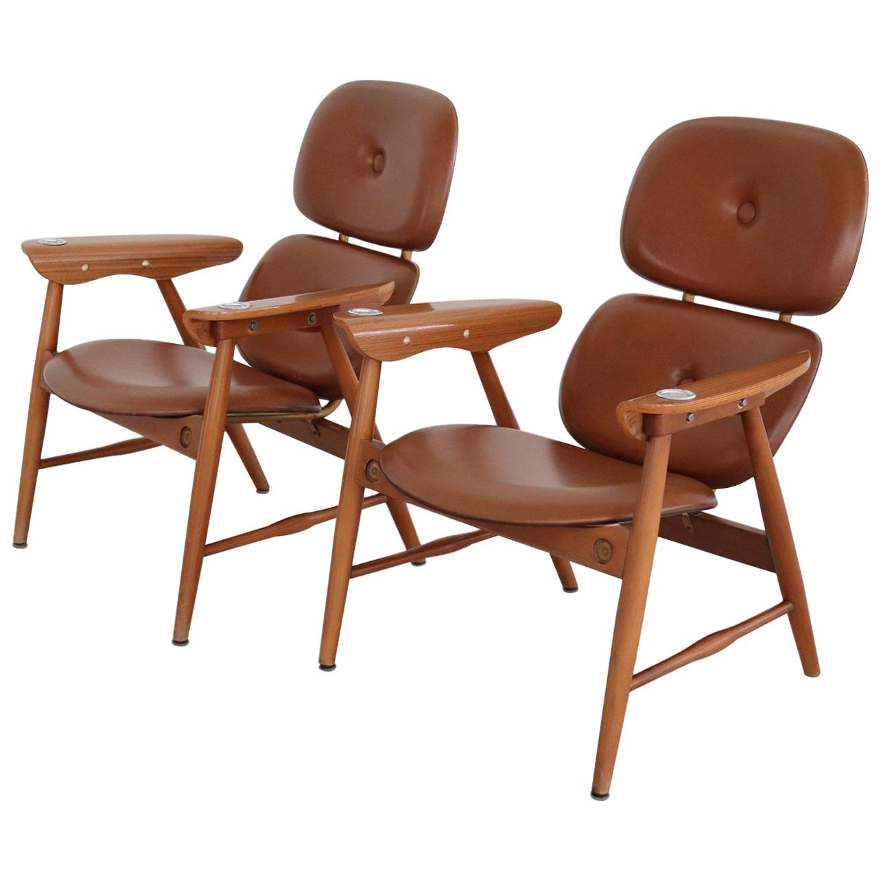 Italian Midcentury Armchairs with Ashtrays and Plywood by Poltronova, 1960s