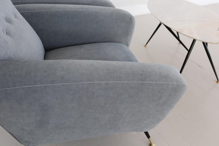 Italian Midcentury Armchairs restored in Pale Blue Grey Velvet, 1950s For Sale 5