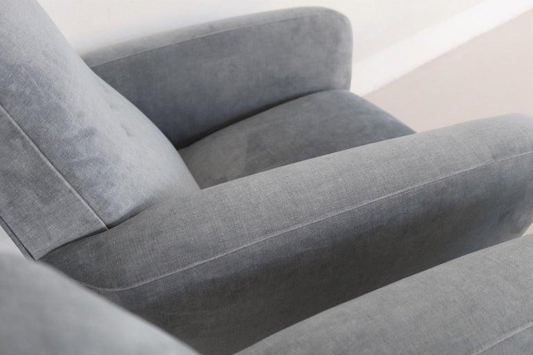 Italian Midcentury Armchairs restored in Pale Blue Grey Velvet, 1950s For Sale 6
