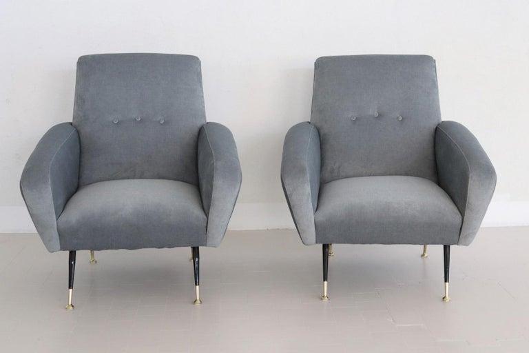 Italian Midcentury Armchairs restored in Pale Blue Grey Velvet, 1950s For Sale 8