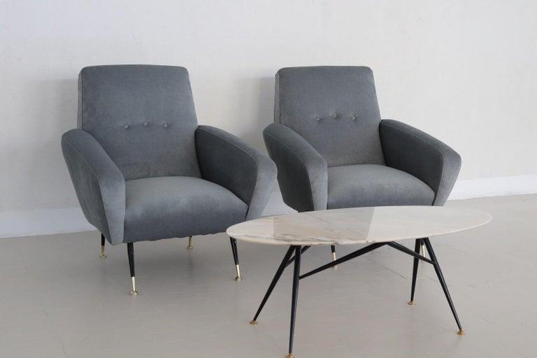 Italian Midcentury Armchairs restored in Pale Blue Grey Velvet, 1950s For Sale 10
