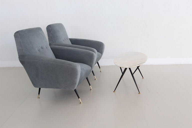 Mid-Century Modern Italian Midcentury Armchairs restored in Pale Blue Grey Velvet, 1950s For Sale