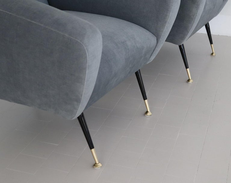 Brass Italian Midcentury Armchairs restored in Pale Blue Grey Velvet, 1950s For Sale
