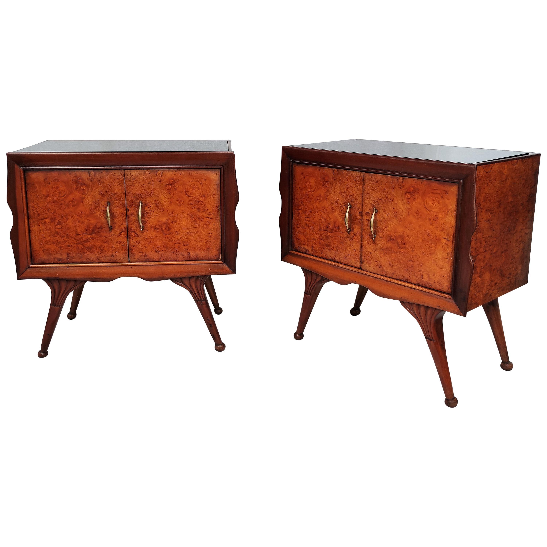 Italian Midcentury Art Deco Nightstands Bed Side Tables Briar Walnut Brass Glass