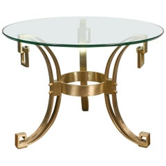 Italian Midcentury Art Deco Style Bronze Center Table with Glass Top