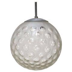 Italian Midcentury Ball Chandelier in Worked Glass