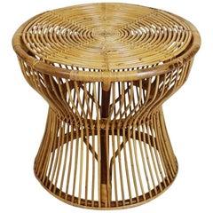 Italian Midcentury Bamboo and Rattan Side Table by Bonacina