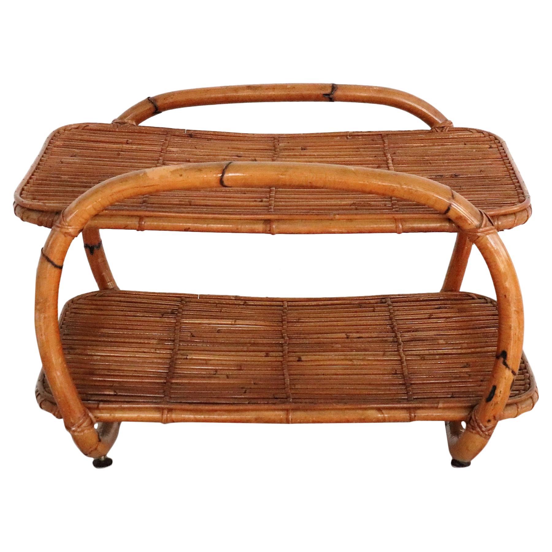 Italian Midcentury Bamboo Shelf in Organic Style, 1970s