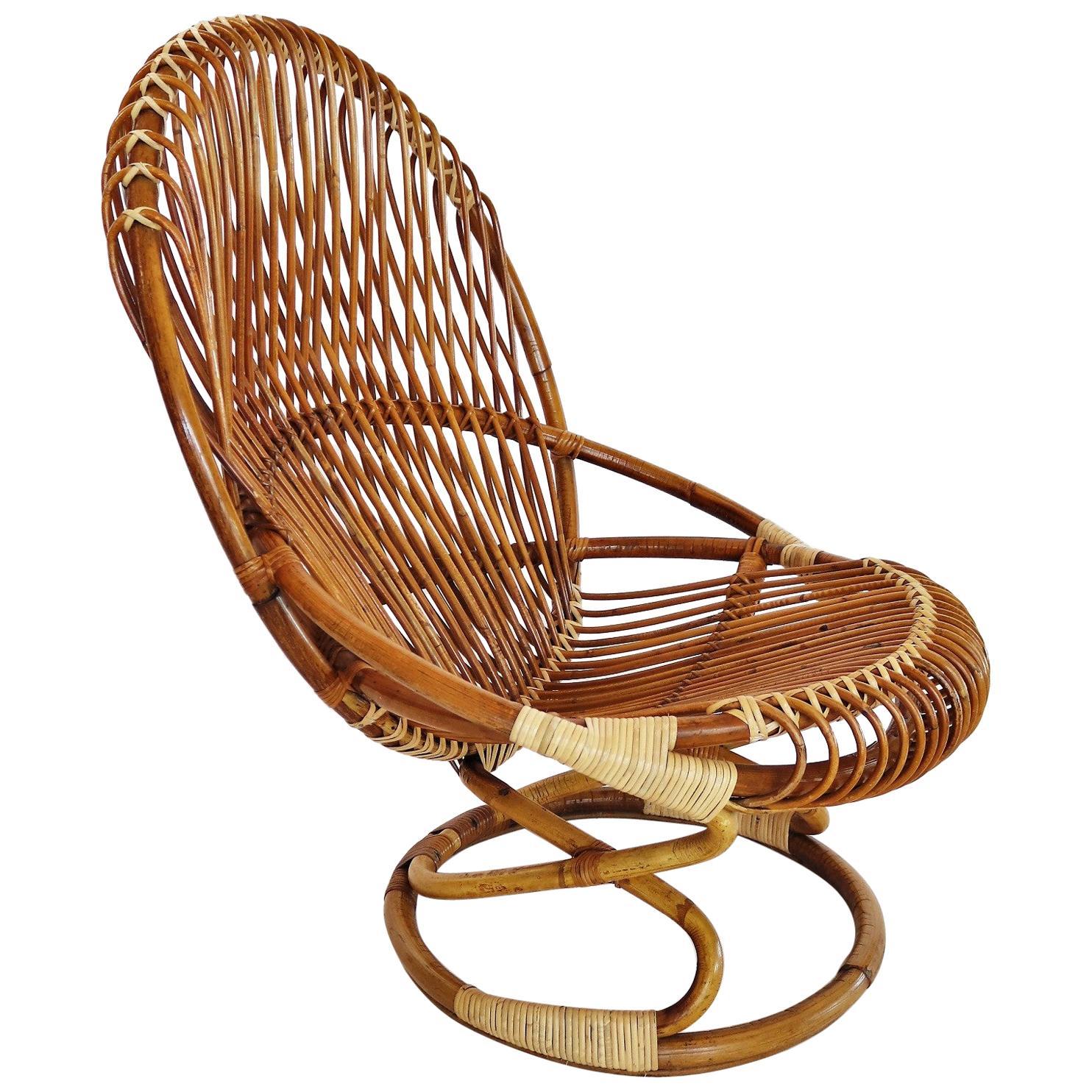 Italian Midcentury Bamboo Rattan Chair by Tito Agnoli for Bonacina, 1950s