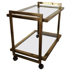 Italian Midcentury Bar Cart or Trolley in Brass and Glass, 1970