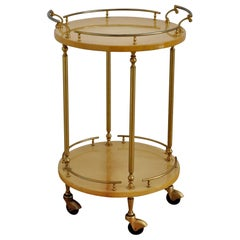 Italian Midcentury Bar Cart or Trolley in Lacquered Goatskin by Aldo Tura, 1960s