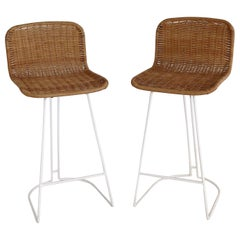 Italian Midcentury Bar Stools in Wicker and Metal by Cidue, 1980s