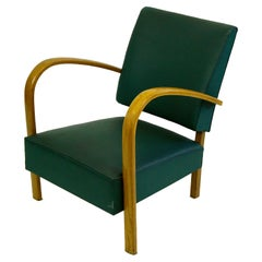 Italian Midcentury Beech Lounge Chair with Green Leatherette