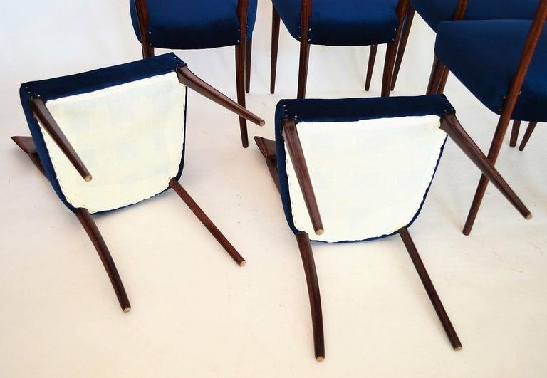 Italian Midcentury Beechwood Dining Chairs Restored in Blue Velvet, 1950s For Sale 13