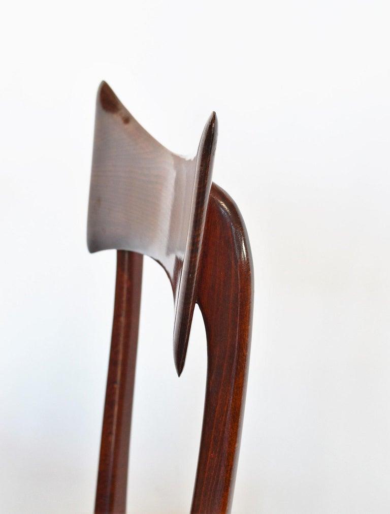 Italian Midcentury Beechwood Dining Chairs Restored in Blue Velvet, 1950s For Sale 2