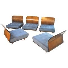 Italian Midcentury Bentwood Armchairs Set of 5