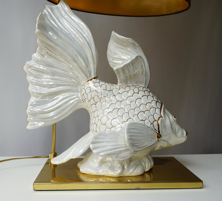 Mid-Century Modern Italian Midcentury Big Ceramic Fish Lamp with Brass Details, 1970s For Sale