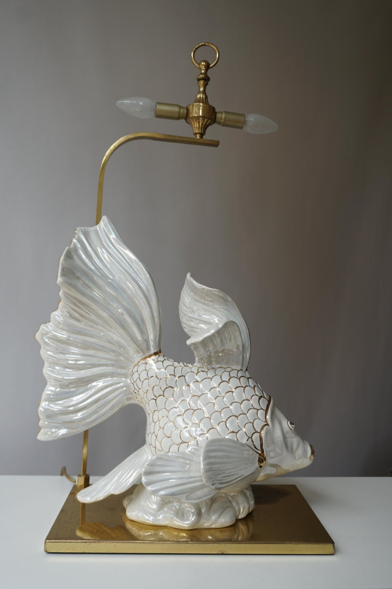 20th Century Italian Midcentury Big Ceramic Fish Lamp with Brass Details, 1970s For Sale