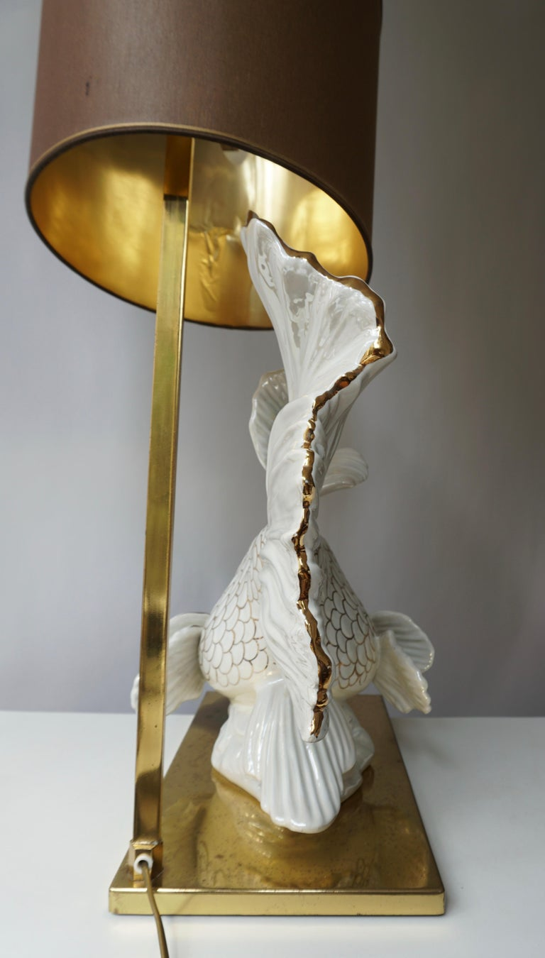 Italian Midcentury Big Ceramic Fish Lamp with Brass Details, 1970s For Sale 3