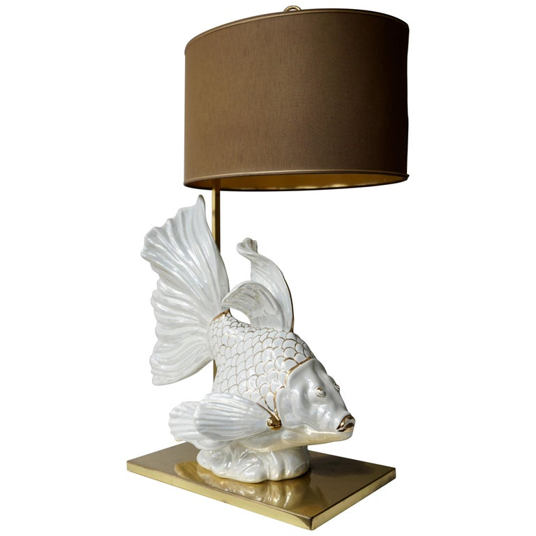 Italian Midcentury Big Ceramic Fish Lamp with Brass Details, 1970s For Sale