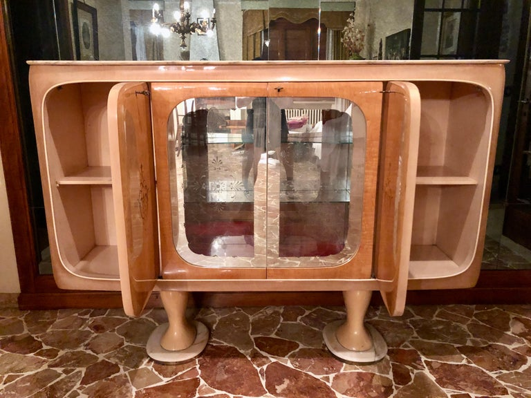 Italian Midcentury Birch Sideboard Cabinet Bar by Marelli & Colico, 1950s For Sale 8